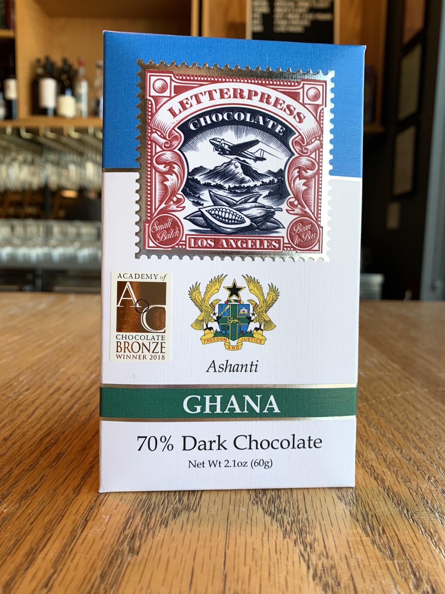 LetterPress Chocolate Letterpress Chocolate Ghana Ashanti 70% 2.1oz
