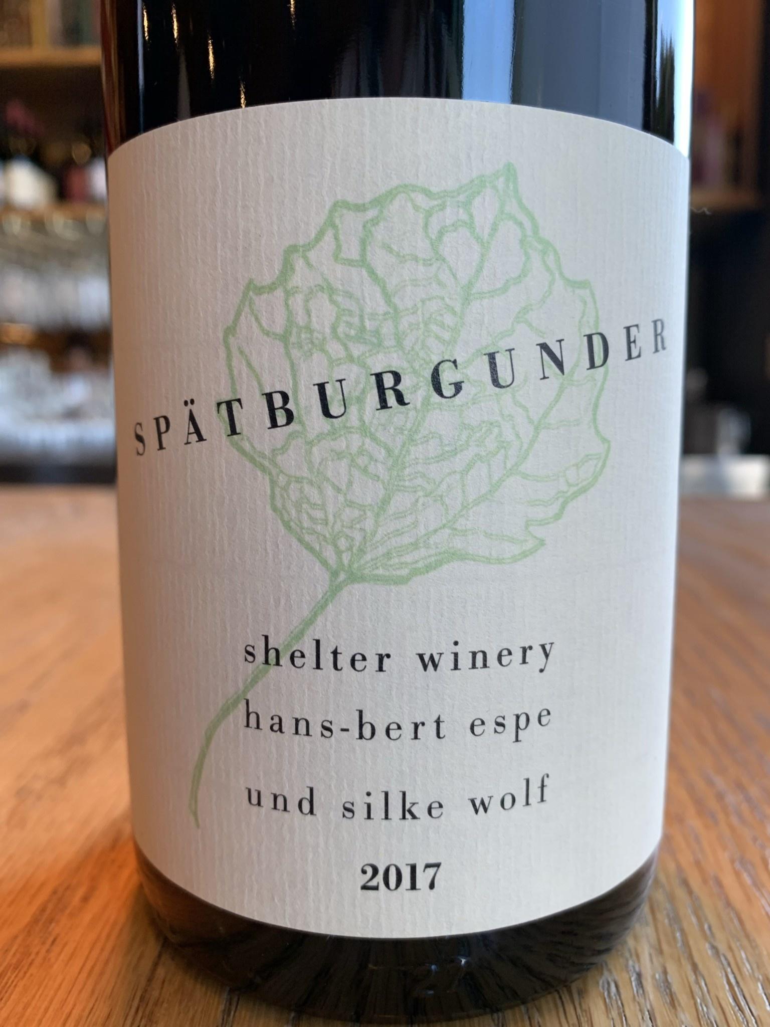 Shelter Winery 2017 Shelter Spatburgunder 750ml