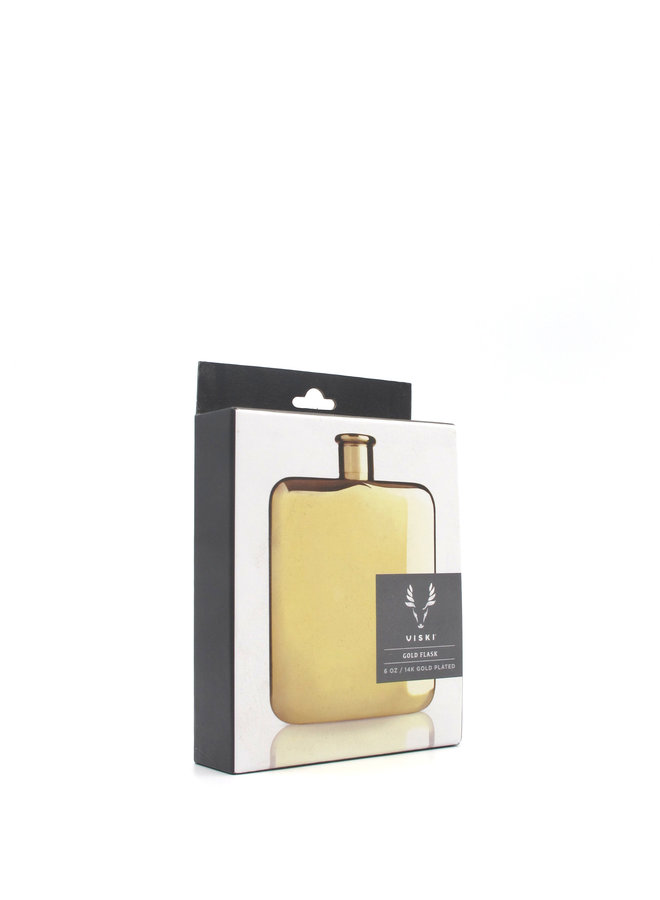Viski 14k Gold Plated Flask 6oz
