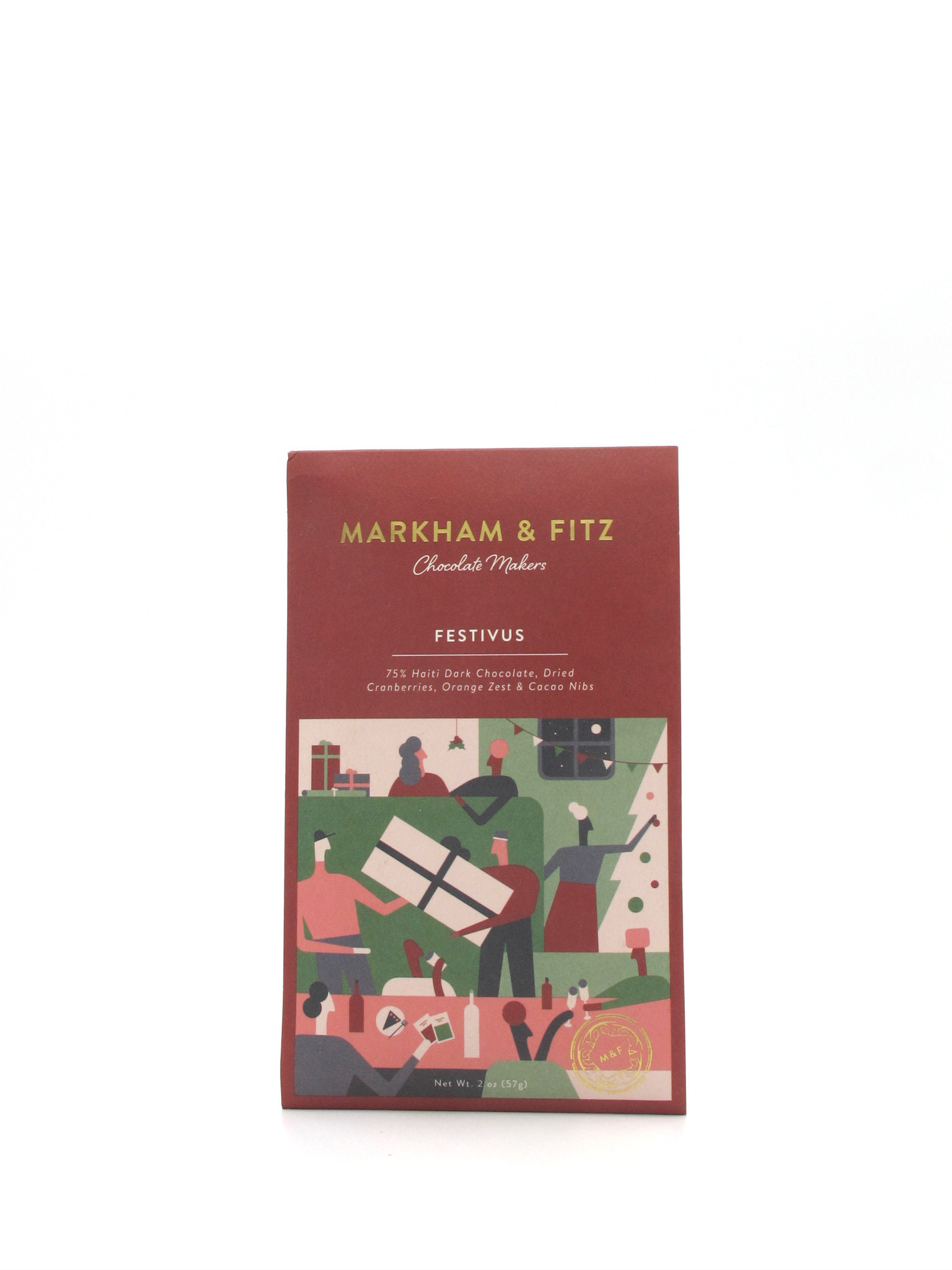 Markham & Fitz Chocolate Makers Markham & Fitz Chocolate Makers Festivus Bar 75% 2oz