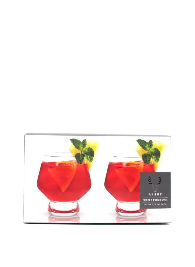 Viski Crystal Footed Punch Glasses (Set of 2)
