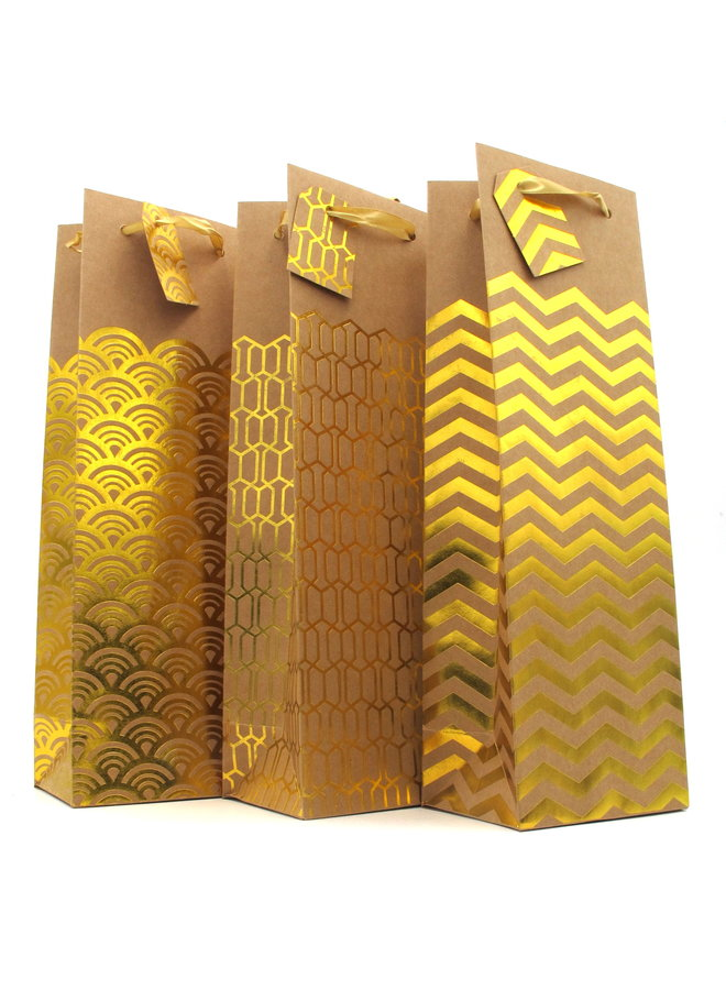 Kraft and Gold Wine Gift Bag