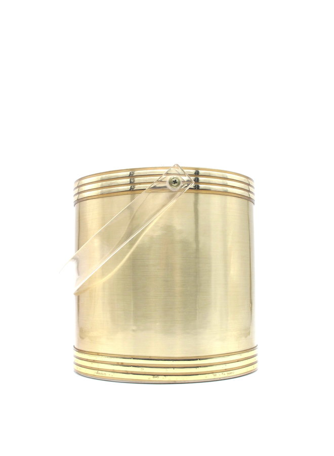 Art Deco Georges Briard Gold Ice Bucket With Lucite Handle Lid