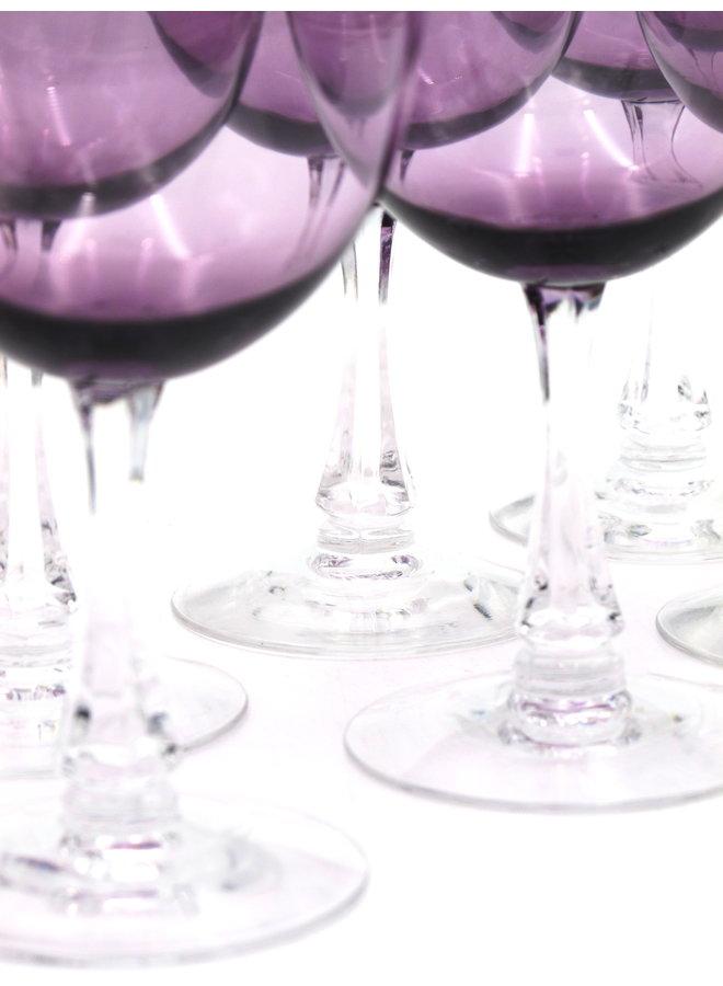 Vintage Fostoria Fascination Lilac Crystal Glasses Set of 8