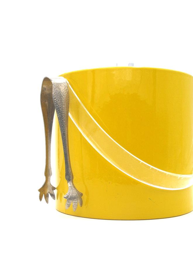 Mid Century Modern Georges Briard Yellow Vinyl Ice Bucket with Lucite Knob
