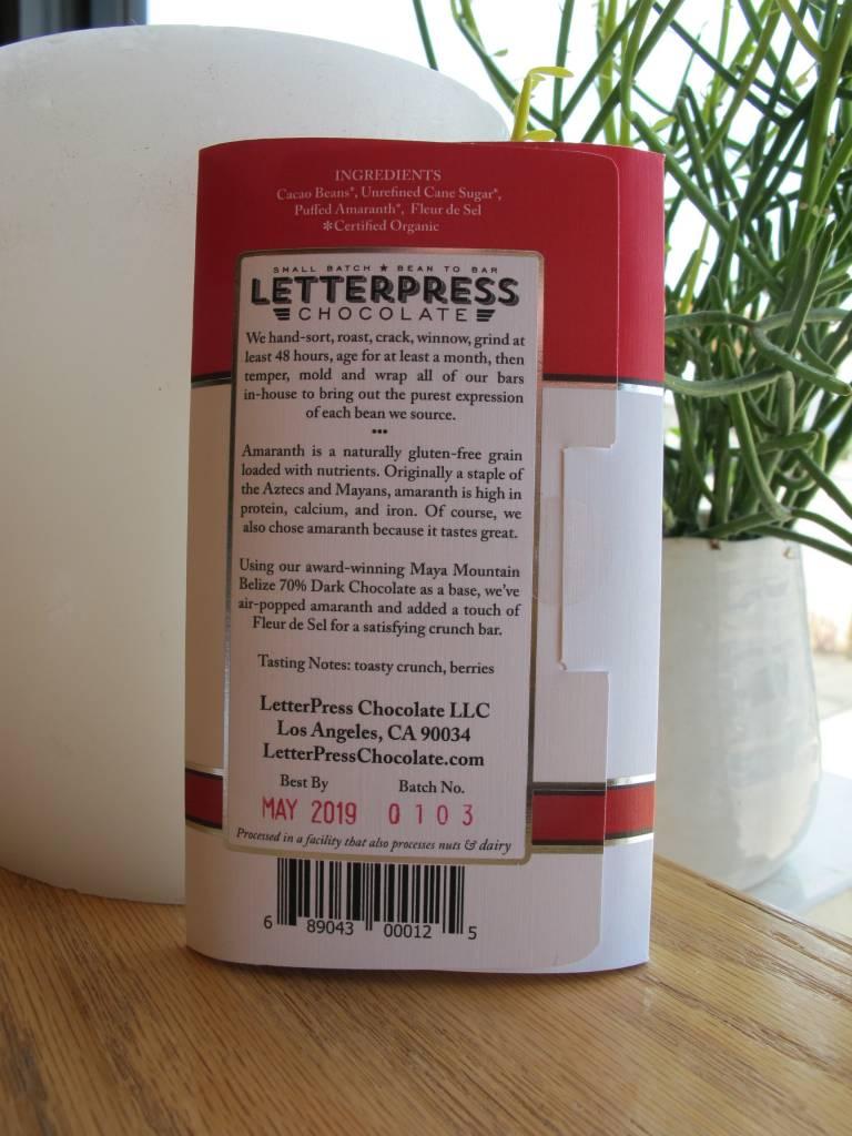 LetterPress Chocolate LetterPress Amaranth Crunch 70% Dark Chocolate Chocolate Bar 2.3oz