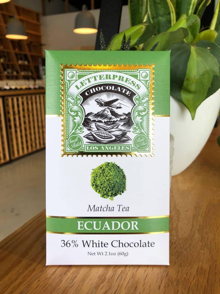 LetterPress Chocolate LetterPress Chocolate, Camino Verde, White Matcha 36% 2.3oz