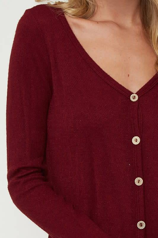 Fantastic Fawn Button-Down Thermal Knit