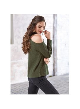 Mud Pie Madden Ribbed Cold-Shoulder Sweater
