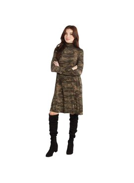 Mud Pie Topher Ribbed Jersey Turtleneck Dress