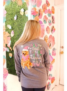 Jadelynn Brooke JLB-All The Best Things Are Wrapped In A Bow L/S V-Neck  Heather