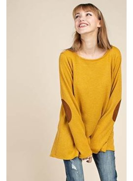 Long Sleeve Back Slitted Knit Top