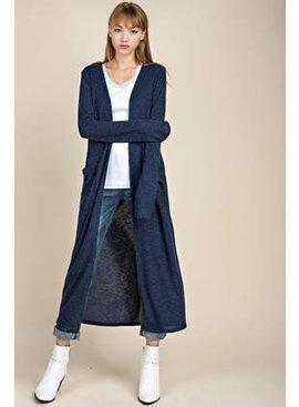 Marled Rib Front Pocketed Long Cardigan