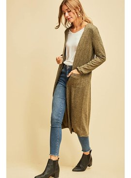 Entro Inc Heathered Long Sleeve Cardigan