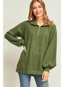 Entro Inc Solid long puff sleeve pullover sweatshirt