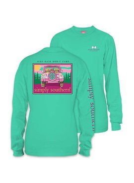 Simply Southern Collection Youth -  Jeep Hair Don't Care Long Sleeve T-Shirt - Aruba