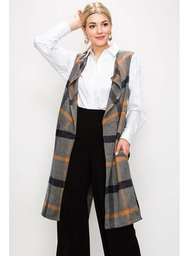 FAVLUX Fashion FAV LUX PLAID LONG VEST