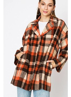 FAVLUX Fashion BUFFALO PLAID BLAZER COAT