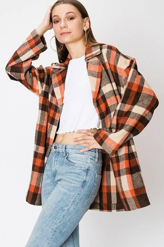 FAVLUX Fashion BUFFALO PLAID BLAZER COAT