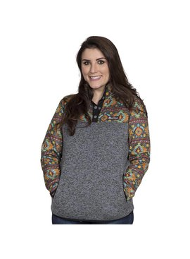 Simply Southern Collection Women's Knit Turtle Pullover -Smoke