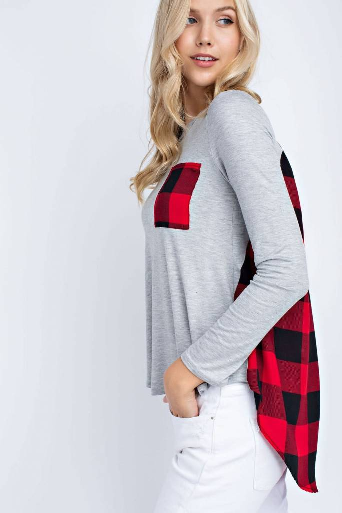 Long-sleeve Solid Rayon Spandex Top
