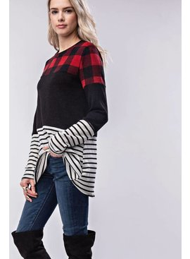 Long-sleeve three-patterned top