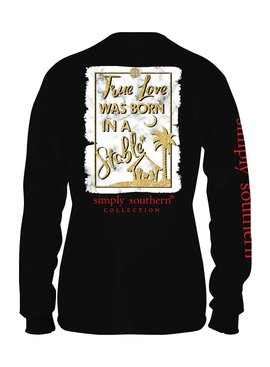 Simply Southern Collection True Love Was Born In A Stable Long Sleeve T-Shirt -Black