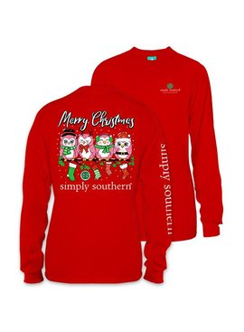 Simply Southern Collection Owl Christmas Long Sleeve T-Shirt