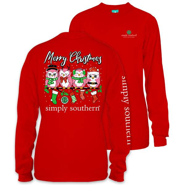 simply southern collection owl christmas long sleeve t shirt