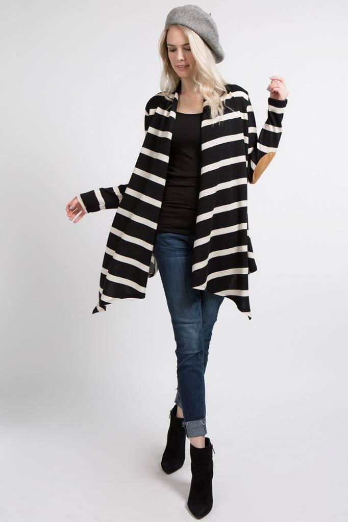 Long-Sleeve Striped Miru Open Cardigan