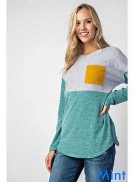 Long-Sleeve Color Block Top
