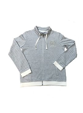 Great One Divine Full Zip French Terry Jacket- Grey/Distressed Blue Stripes