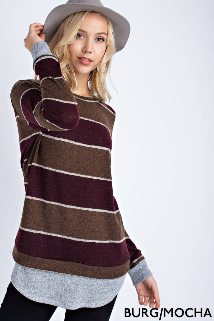 Long-Sleeve Striped  Top