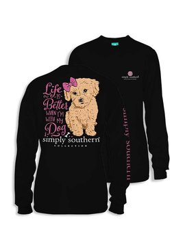 Simply Southern Collection Youth - Life is Better with a Dog Long Sleeve T-Shirt