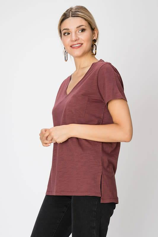 V-NECK SHORT SLEEVE TOP WITH POCKET