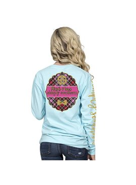 Simply Southern Collection Plaids and Bows  - Long Sleeve T-Shirt - Marine