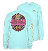 Simply Southern Collection Youth - Plaids and Bows  - Long Sleeve T-Shirt - Marine