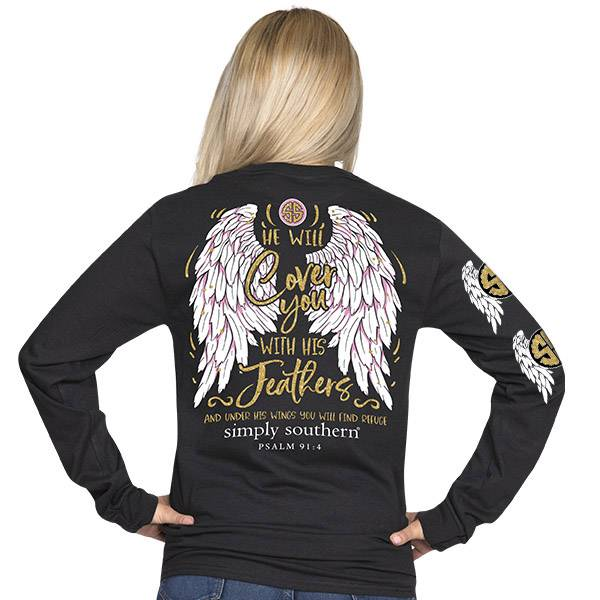 Simply Southern Collection Youth - Feathers -Long Sleeve T-Shirt - Black