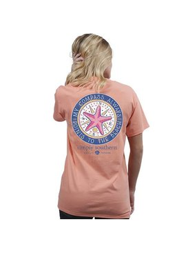 Simply Southern Collection My Compass Always Points to the Beach Short Sleeve T-Shirt in Peachy