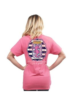 Simply Southern Collection I Shore Do Sparkle Short Sleeve T-Shirt in Begonia