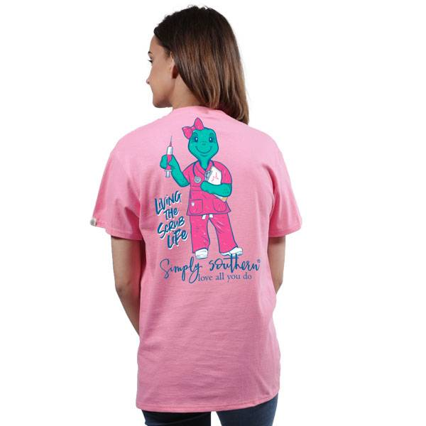 Simply Southern Collection Living The Scrub Life Short Sleeve T-Shirt in Flamingo