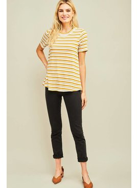 Entro Inc Striped ribbed round-neck top