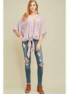 Entro Inc Acid washed print button-up top