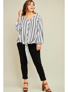Striped v-neck button-up top