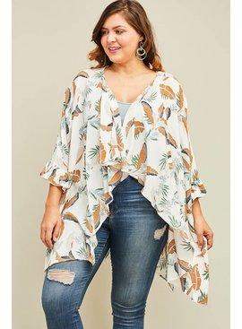 Entro Inc Tropical print draped kimono