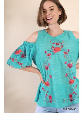 Umgee Open Shoulder Keyhole Top