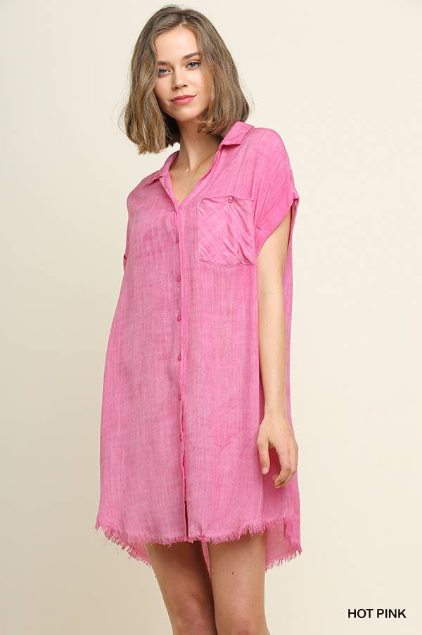 Umgee Collared Button Up Dress
