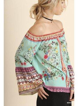 Umgee Off Shoulder Floral Print Top