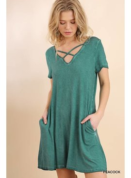 Umgee Washed Crossed V-Neck Pocket Dress