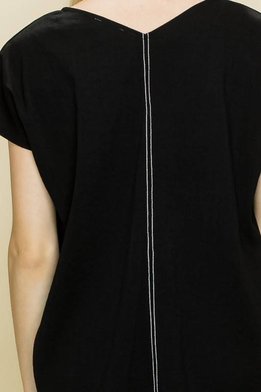 Glam Contrast Stitched Sleeveless Top